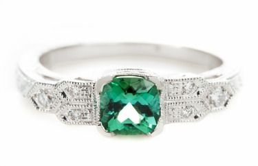 October birthstone engagement ring: Beverley K Custom-Designed Tourmaline and Diamond Engagement Ring from Greenwich Jewelers, $1,950