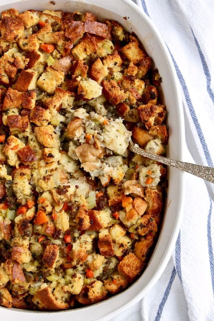 Old-Fashioned Bread Stuffing with Sausage. Traditional, comforting and a must have on my Thanksgiving table. Just like dad used to make every Thanksgiving.