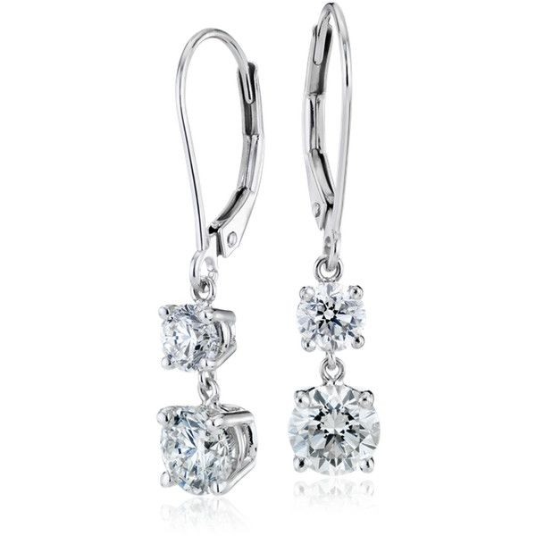 Blue Nile Diamond Two-Stone Drop Earrings ($10,000) ❤ liked on Polyvore featuring jewelry, earrings, round diamond earrings, diamond drop earrings, 14k jewelry, diamond jewelry and 14 karat gold earrings