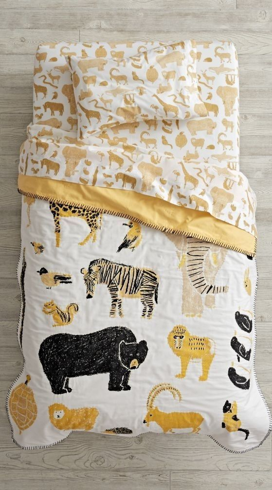 Catching a glimpse of your favorite wildlife has never been easier, thanks to the roaming herd on this animal toddler bedding set. Our Menagerie Toddler Bedding is adorned with countless illustrated animals in a stylish black and yellow color palette. It features 100% cotton construction, so you it'll be wildly comfortable.