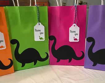 Dinosaur party favor bags, Dinosaur party bags, Dinosaur birthday bags