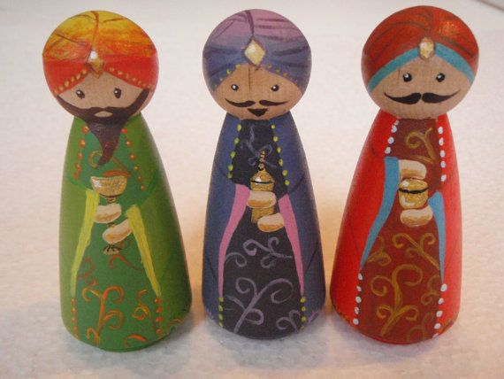 Hand painted wooden peg doll nativity.