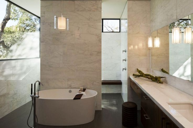 Home Design, Elegant Small Skyline House Bathroom Iinterior Featured With Oval Shaped Tub And Vanity With Dressing Table: Captivating Modern House Design Ideas with Infinite Swimming Pool