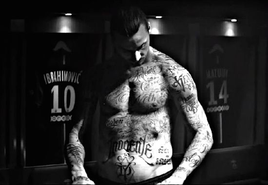 """Zlatan Ibrahimovic shows hunger victims' tattoos. ~ """"Zlatan Ibrahimovic has actually done something no other footballer would certainly do."""" Underneath his football shirt he had 50 names names of individuals made with temporary tattoos [he's not a maori...] he had actually never known, but still wished to keep close. Names of some of the 805 million people who are starving in the world today."""