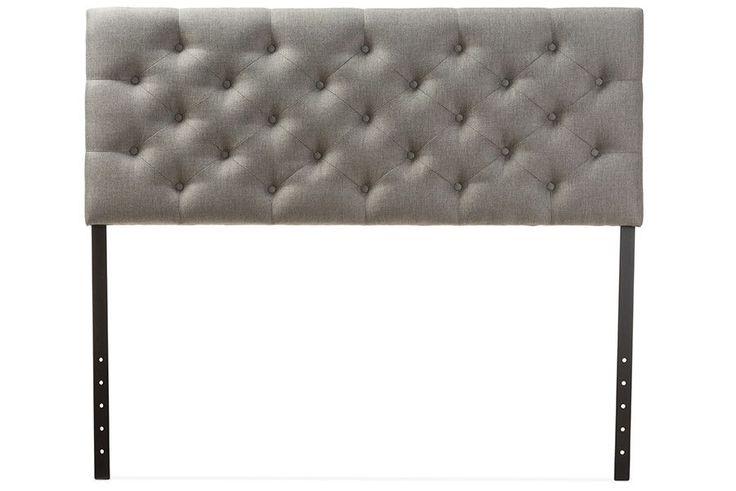 Viviana Grey Fabric Button-tufted Queen Size Headboard