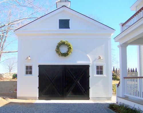 windows: Black Doors, White House Black Garage Doors, White Exterior Black Garage, Exterior Colors, Garage Barns, Barns Doors, Carriage Doors, Barns Garage, Carriage House