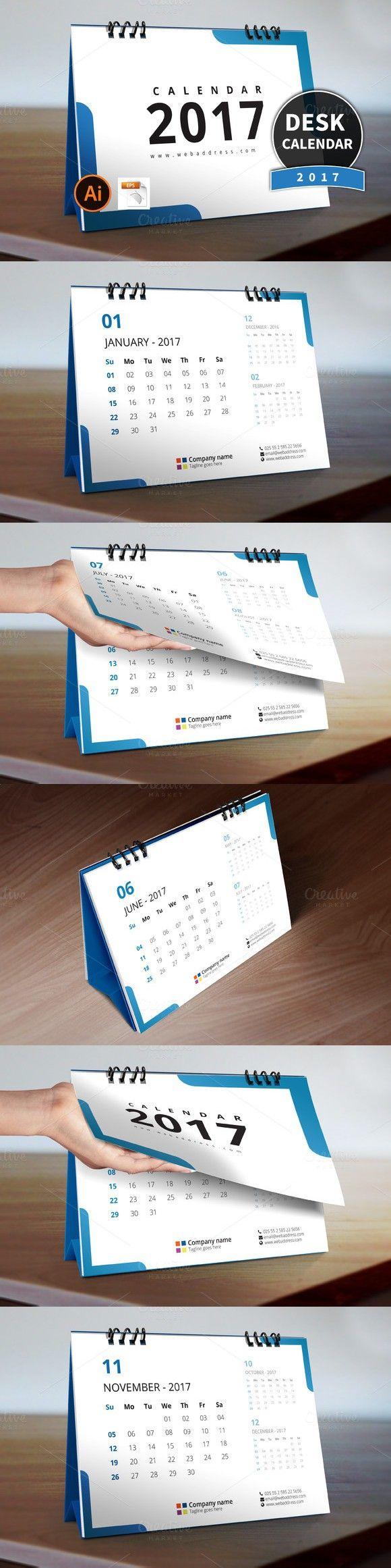Desk Calendar 2017_V4. Stationery Templates. $7.00