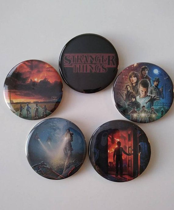 Need more Stranger Things? This button set will take you back to Hawkins with all of your favorite characters. With buttons featuring seasons 1 and 2, theres something for any fan! Each button is perfect for pinning to jackets, shirts, or bags! 2 1/4 in. buttons made with a quality