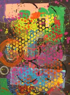 Art dans la salle Big Green: Cercles abstraits maternelle