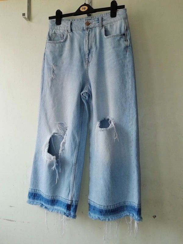 7206aae6 Zara Light Blue Wide Leg Ripped Jeans UK Size 10 in 2019 | Rebellion ...