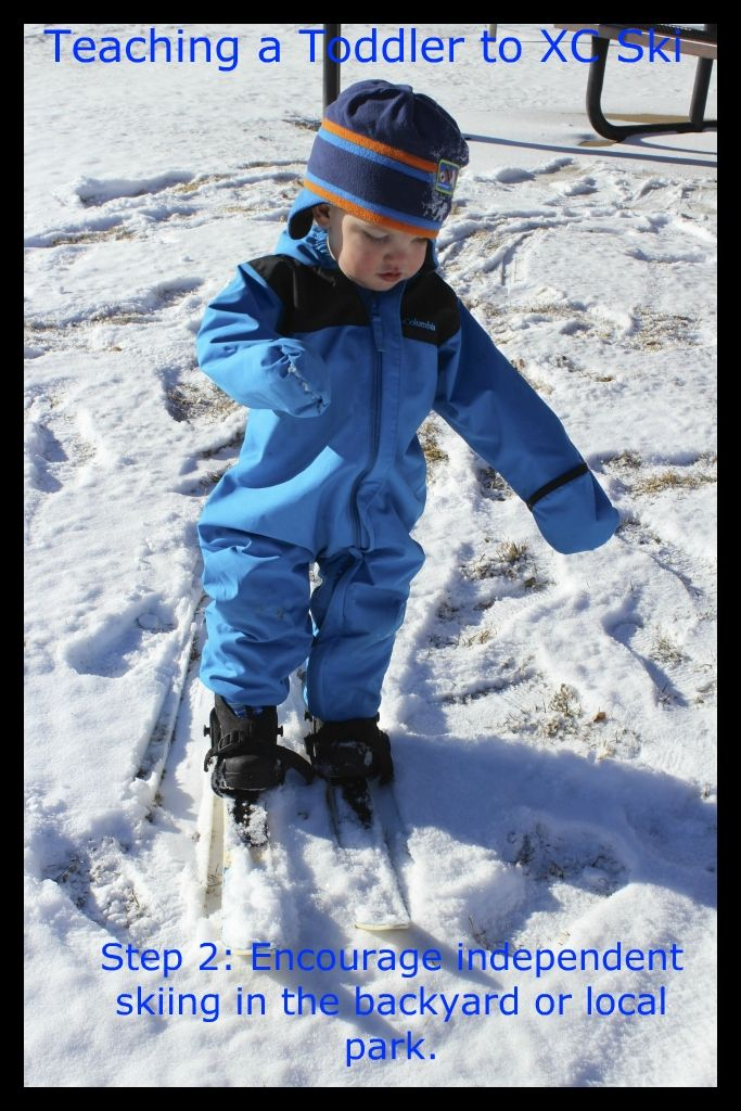 How to teach a toddler to XC ski. This is for XC skiing but still a great way to get a toddler used to the skis at his own pace before hitting the big bunny hill;)