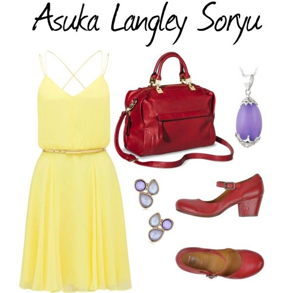 Asuka Langley Soryu by kayla-morrell on Polyvore featuring Forever New, Moma, Merona, Glitzy Rocks, Napier, neon, genesis and evangelion
