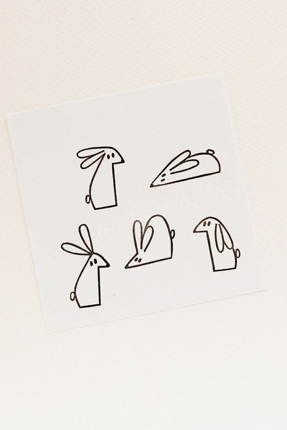 Cute little bunny stamps set - Small handcarved rubber stamps - Funny stamps for scrapbooking, diy