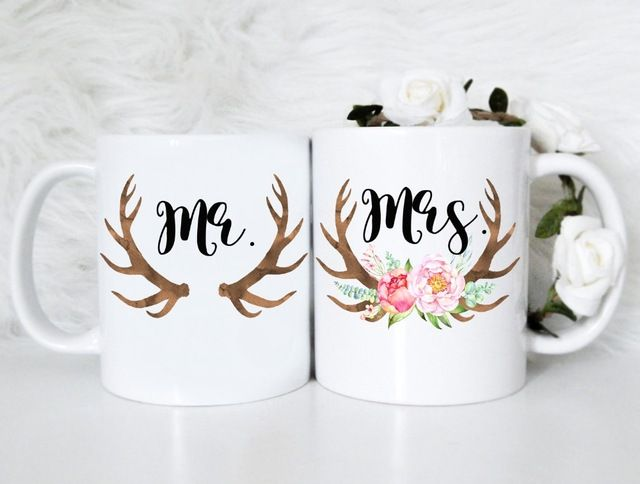Mr. & Mrs. Mug Couple Set mugs kitchen Decor ceramic art home decal whisky  wine beer milk tea porcelain coffee mug