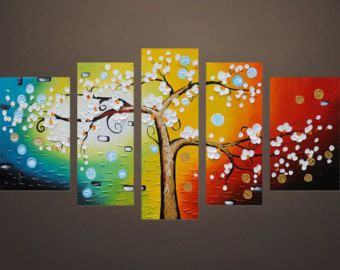 Size : 50x70cmx3panels---(20x28 inchesx3panels) other size please send me message.  Type: Hand-painted  Frame: with wood frames together, ready to hang wall.  Style: Abstract Thick palette knife oil painting  Subjects: light blue yellow red tree Medium: security and environmental protection Acrylic Paint  Support Base: Canvas wooden frames.  is_customized: Yes Form: group set oil paintng  Application: Living Room Bedroom Dining Hall Kitchen Office Cafe Hotel Wine Bar   Painting process: 100%…