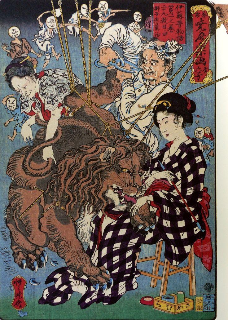Lion falling in love story by Kawanabe Kyosai