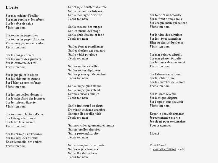 Liberté poème de Paul Eluard