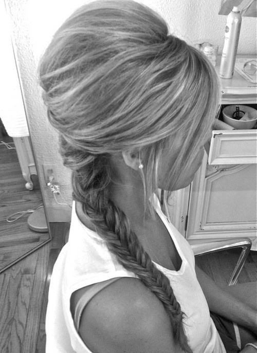 """How to: Spray some dry shampoo at your roots for volume and to hold teasing, tease a 2x2"""" area at the crown of your head, smooth hair over the top and pull hair into half up half down and bobby pin, then fishtail braid the remaining hair. Viola super cute dressy/casual hair!"""