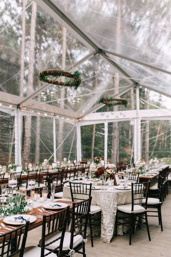 Rustic table decor surrounded by the foliage of the classic New England forest: http://www.stylemepretty.com/2016/11/24/fall-kennebunkport-wedding/ Photography: Emily Delamater - http://emilydelamater.com/