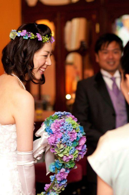 新郎新婦様からのメール アジサイのキャスケードブーケ ポールボキューズ様へ : 一会 ウエディングの花