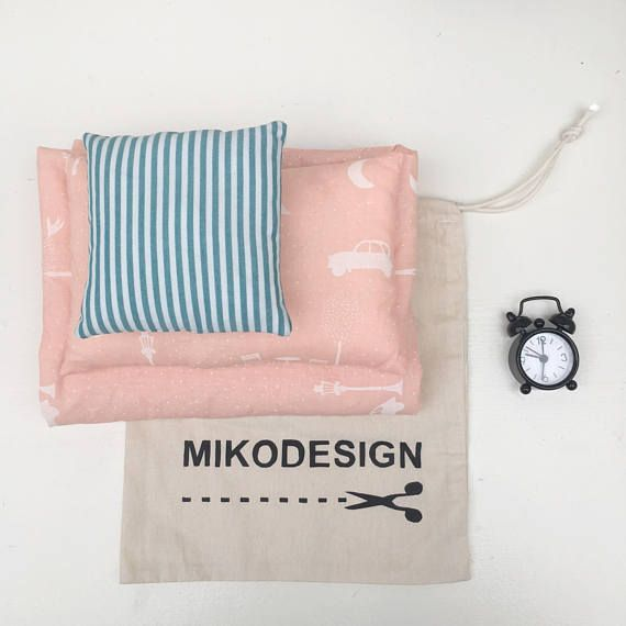 handmade mini bedding set screenprinted with paris dessin the set contains: - bedding - 1 big cushion - 1 small cushion - 1 alarm clock - 1 cotton bag