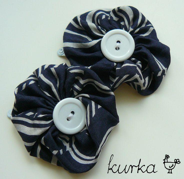 spinki handmade by kurka - granatowe kwiaty