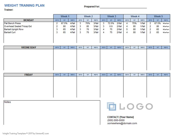 Download a free Weight Training Plan Template that you can customize using Excel. Designed for personal trainers and their clients.
