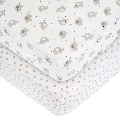 Babies R Us 2 Pack Elephant Dot Sateen Sheets - Gray/White