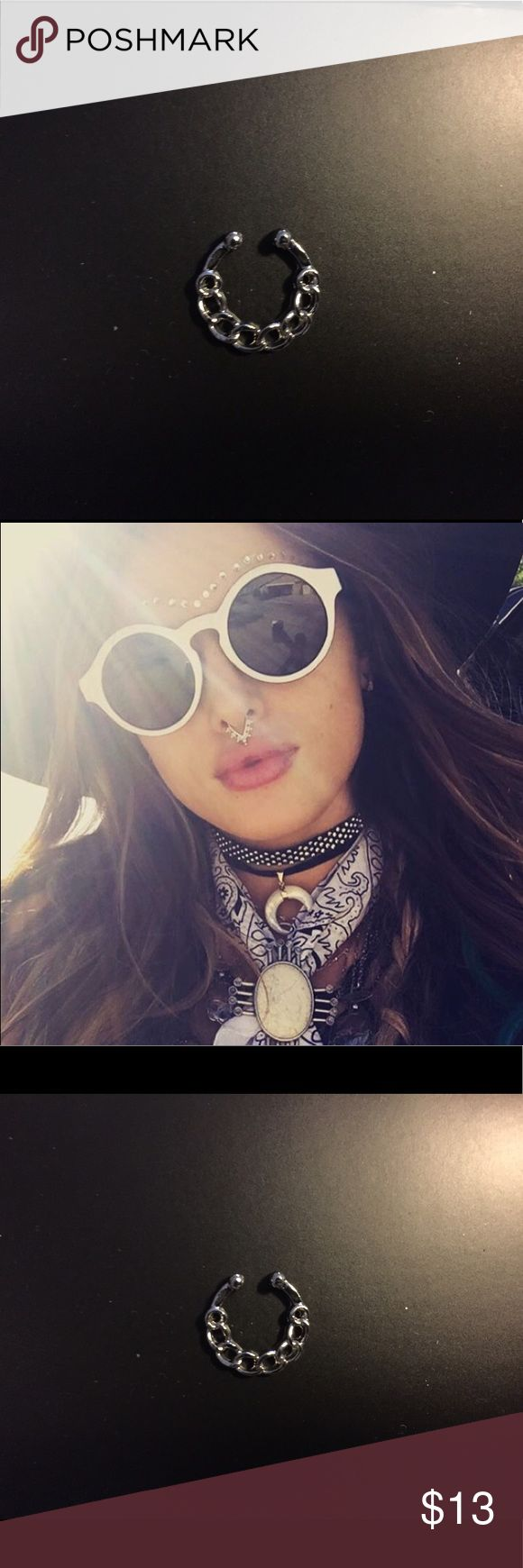 """🆕Silver Fake Septum/ Bull Nose Ring This new """"it girl"""" accessory piece is both sexy and cool. Great quality ring for the price. Brand new and fully adjustable. Will be stocking many styles so message if you want to bundle any! Free People Accessories"""