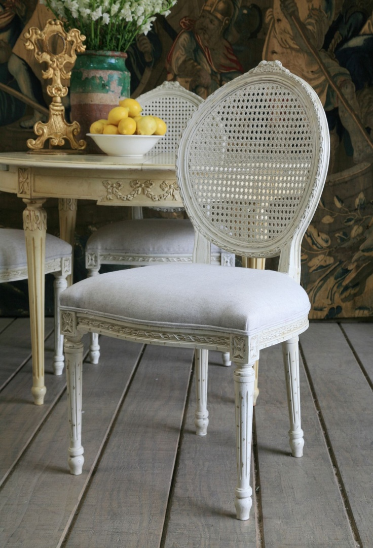 Louis cane back dining chair set of 2 ballard designs - Louis Cane Dining Chair With Lovely Oval Caned Backrest Only Now Available In Antique White Finish 1 Yard Required To Reupholster