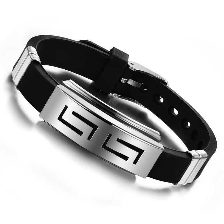 2017 Charm Fashion Silver Slippy Hollow Strip Grain Stainless Steel Men Bracelet Bangle Wristbands Black pulsera