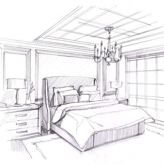 One Point Perspective Bedroom: Interior Sketches