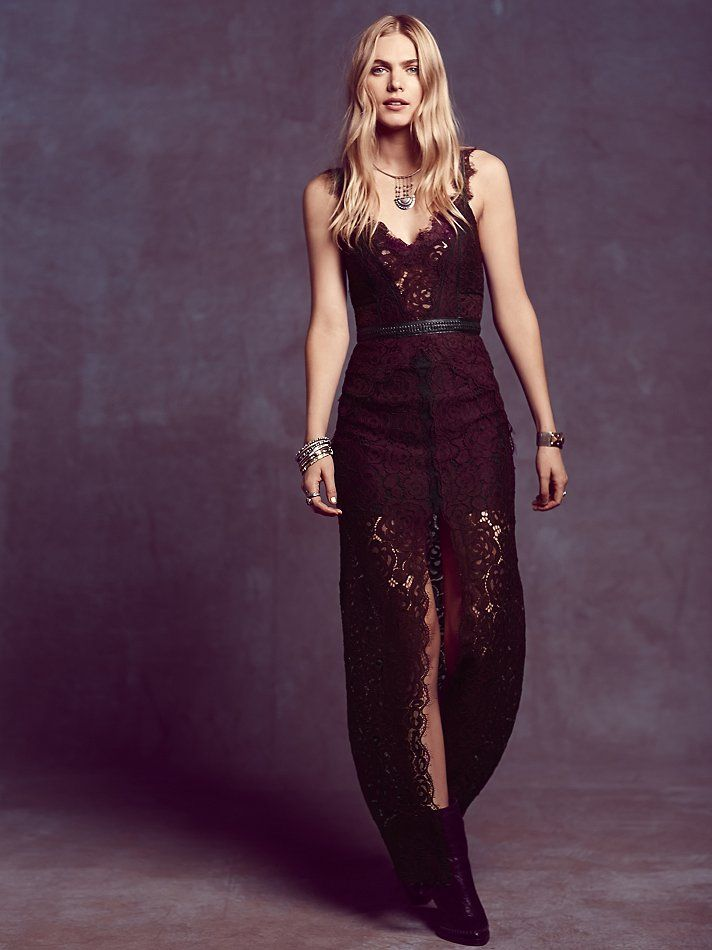 This dress is everything! if only i had somewhere to wear it to! Free People Lace Column Dress at Free People Clothing Boutique