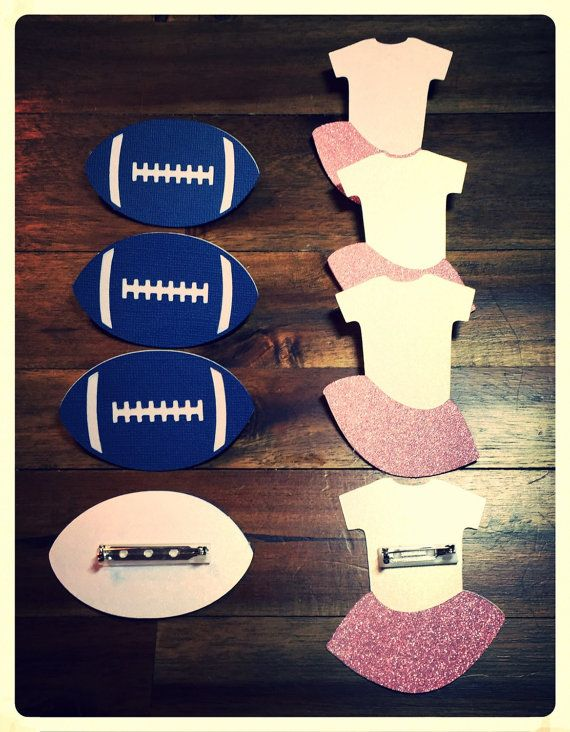 Gender reveal party.  Gender reveal pins.   Boy or girl pins.  Boy or girl game.   Baby shower decorations.  Football and tutu pins