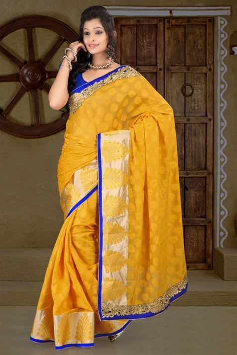 Cotton Yellow party wear saree