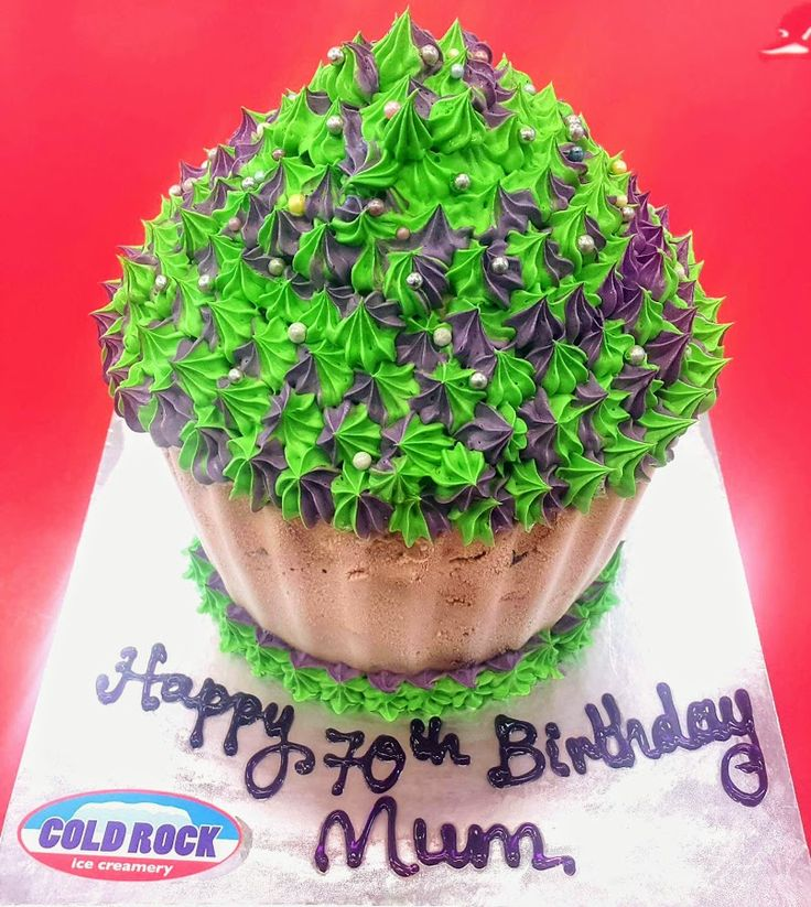 green and purple cup cake cold rock