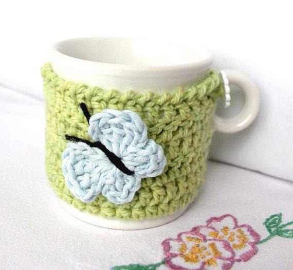 Mug Cozy Cup Cosy Mug Warmer Green Crochet Light by CageFreeFibers, $10.00