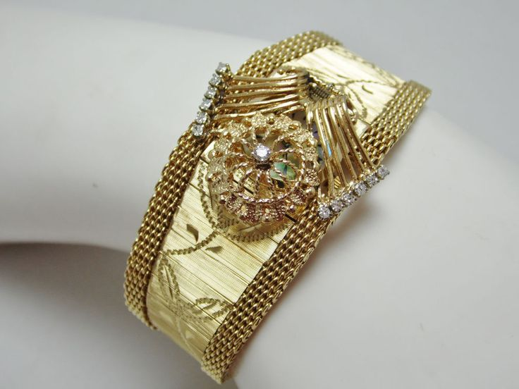 LUXURIOUS ANTIQUE 14K GOLD DIAMOND LADIES LUVA WRISTWATCH BRACELET ESTATE #Luva #LuxuryDressStyles