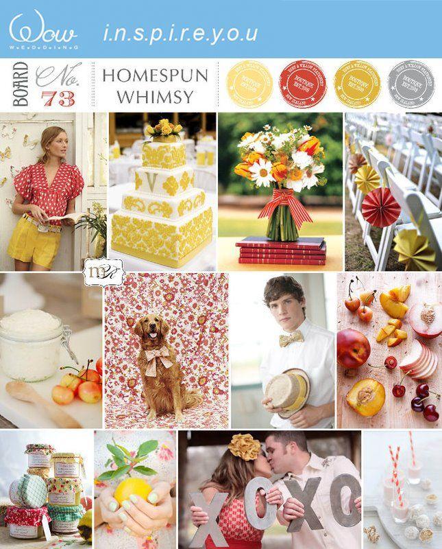 Yellow gray red wedding ideas