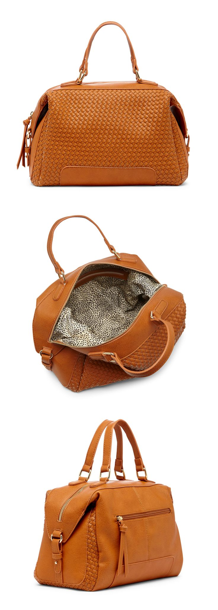 Cognac woven satchel with a removable shoulder strap | Sole Society Paxley