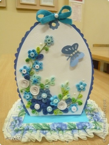 ≈ blue butterfly and flowers - paper, buttons, and pearls