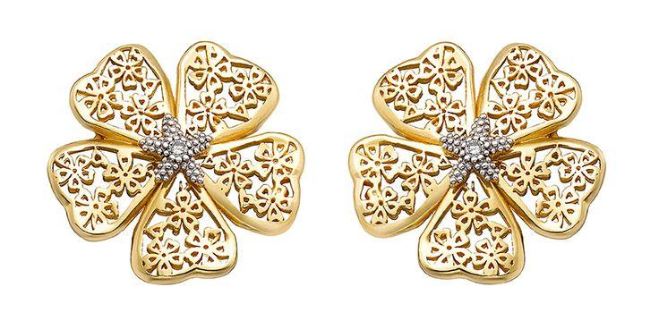 Pendientes oro Flor de almendro