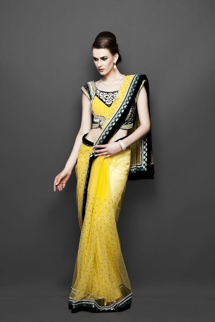 Party wear yellow sari