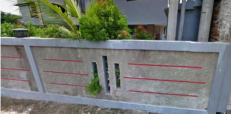 contoh pagar minimalisme abu abu dan merah