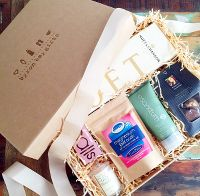 How our gift hampers look when they arrive in natural, Australian made box with bronze stamped logo and ribbon.
