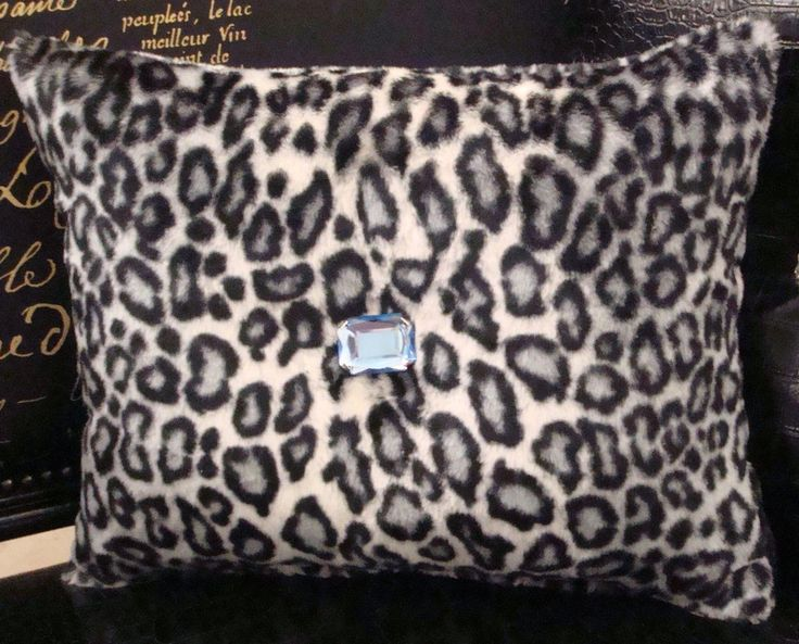Snow Leopard Bling Throw Pillow, Black & White 15 x 12 with Blue faux crystal Products ...