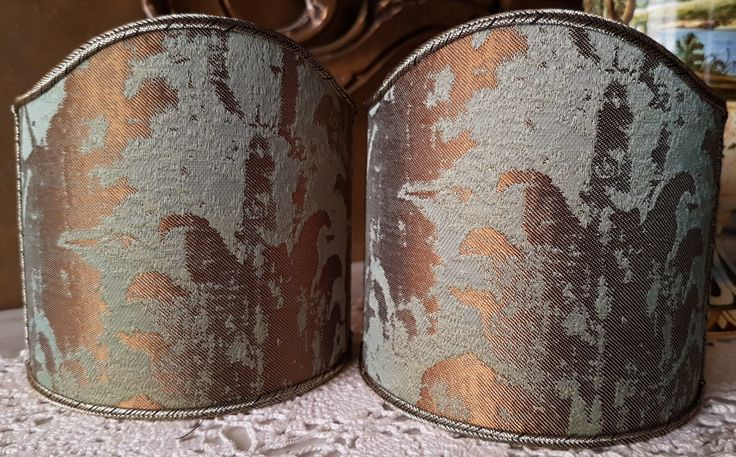 Pair of Clip-On Shield Shades Reseda Green Jacquard Rubelli Fabric Gritti Pattern Mini Lampshade - Made in Italy by OggettiVeneziani on Etsy