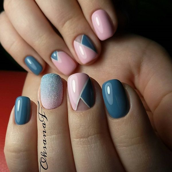 Ombre Glittered Glaze Geo Mani. Mostly pastel colors are used to do geometric nails arts because these colors provide the unique look that cannot be provided by any other colors.