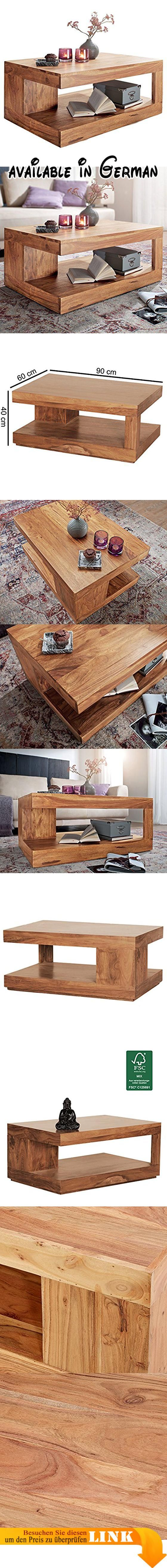 B013CEMNBO WOHNLING Couchtisch Massiv Holz Akazie 90 cm breit Wohnzimmer Tisch Design Natur