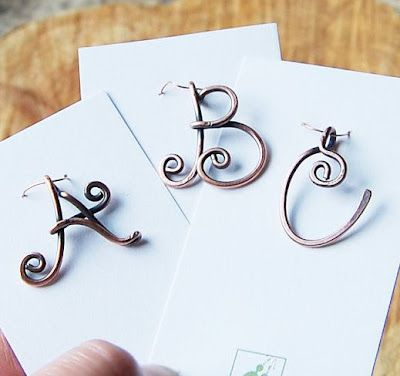 Hand Made Copper Wire Monogram Initial Pendant or Ring
